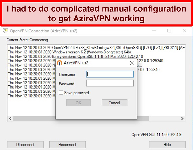 Screenshot of AzireVPN's login prompt while using the OpenVPN client