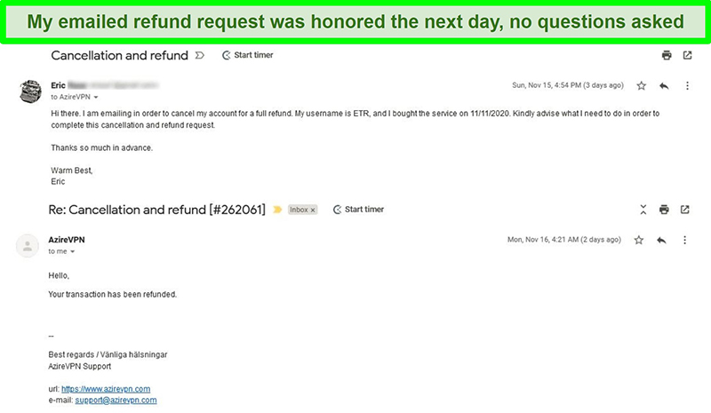 Screenshot of an email thread showing the AzireVPN cancellation and refund process