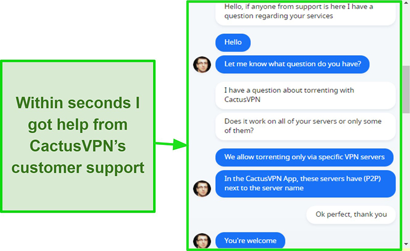 Screenshot showing customer support being quick and helpful