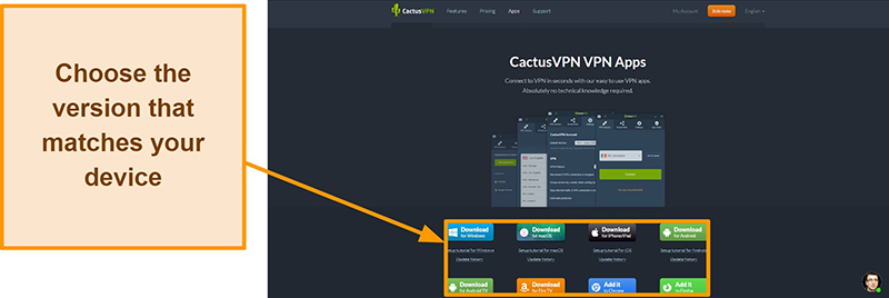 Screenshot showing where to download the version of CactusVPN you want from its website