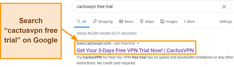 Screenshot showing how to find the CactusVPN free trial on Google