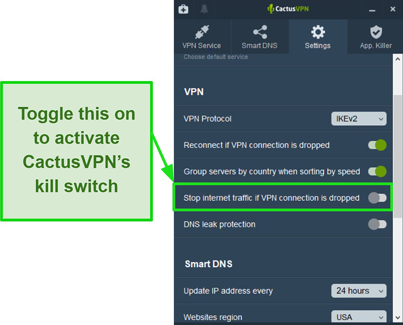 Screenshot showing how to manually activate CactusVPN's kill switch
