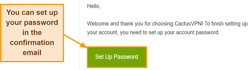 Screenshot showing confirmation email from CactusVPN to create a password for your account