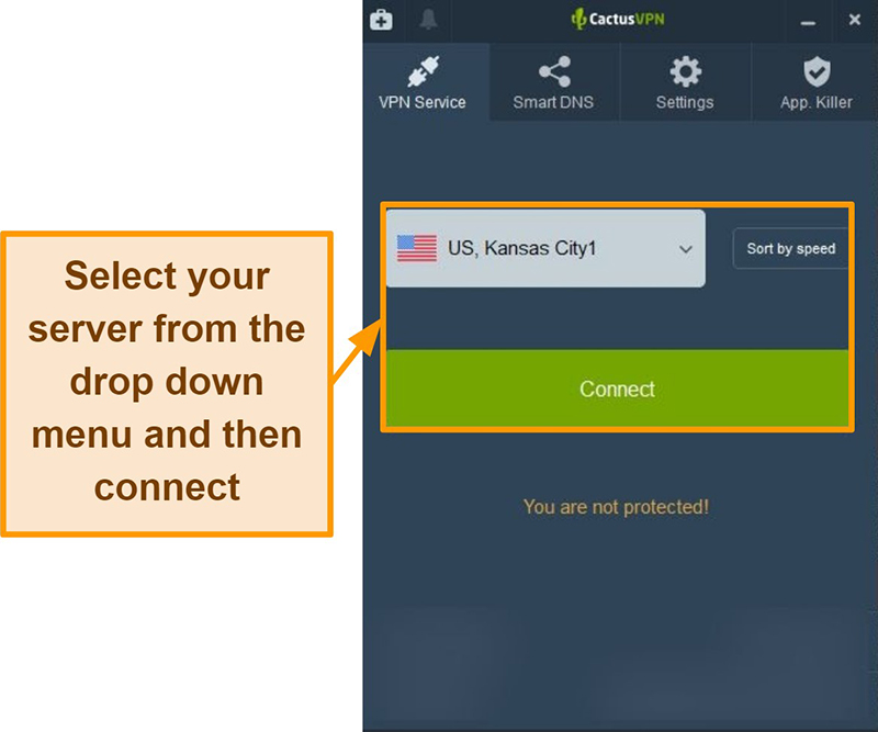 Screenshot of CactusVPN interface showing server selection drop-down menu