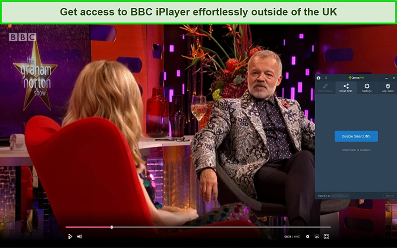 Screenshot of The Graham Norton Show successfully streaming on BBC iPlayer with CactusVPN connected