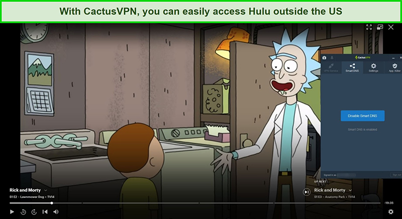 Screenshot of Rick and Morty successfully streaming on Hulu with CactusVPN connected