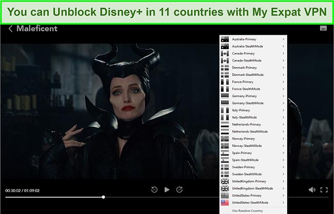 Screenshot of My Expat Network unblocking Disney+ US