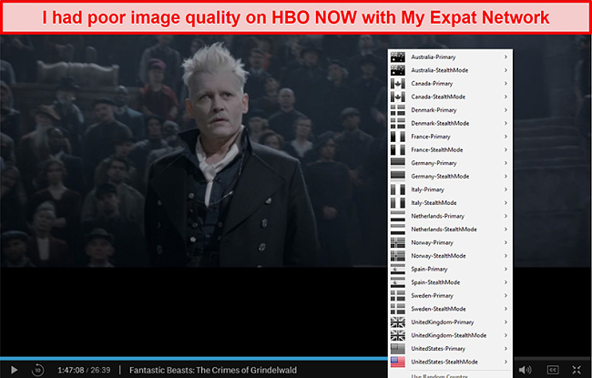 Screenshot of My Expat Network unblocking HBO NOW