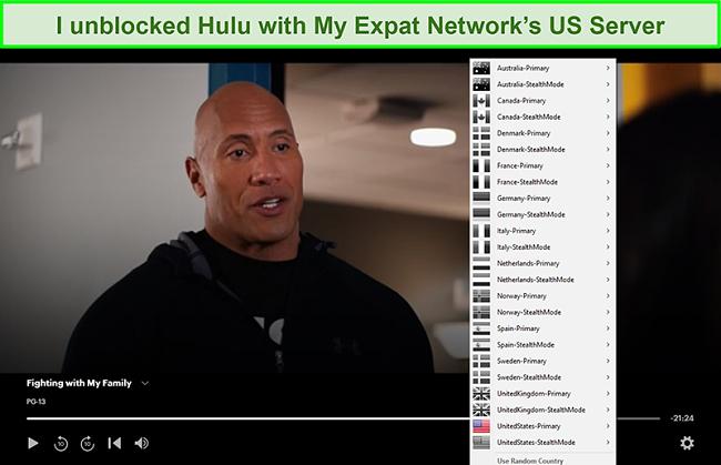 Screenshot of My Expat Network unblocking Hulu