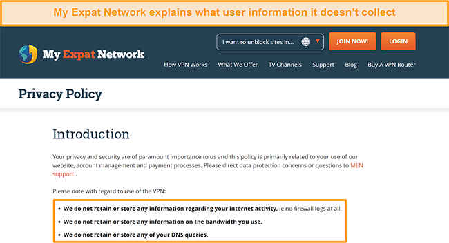 Screenshot of My Expat Network's privacy policy
