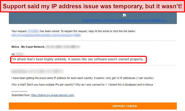 Screenshot of My Expat Network email response providing an explanation for an IP address issue