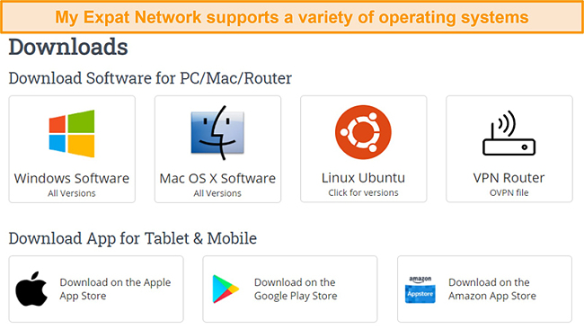 Screenshot of My Expat Network's choice of supported platforms