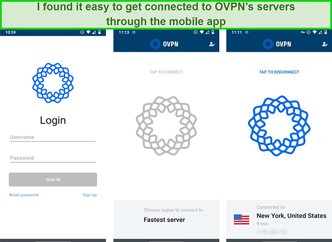 Screenshot of OVPN's log in process on mobile