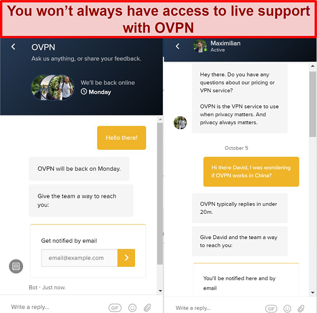 Screenshot of limited live chat support for OVPN