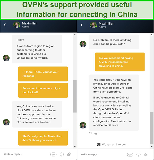 Screenshot of live chat with OVPN about whether servers work in China