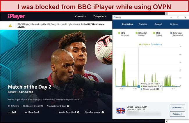 Screenshot of OVPN getting blocked by BBC iPlayer