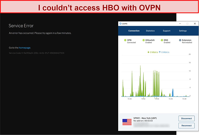 Screenshot of OVPN getting blocked by HBO