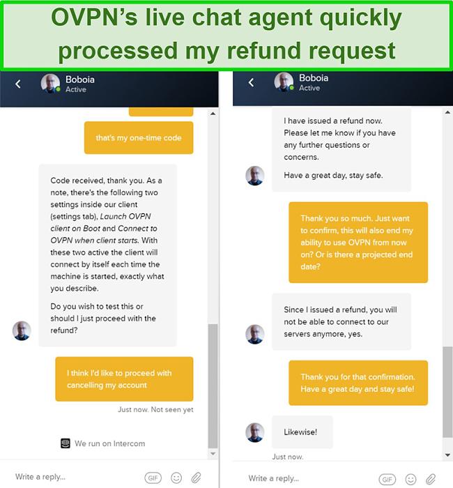 Screenshot of a successful refund request through OVPN's live chat