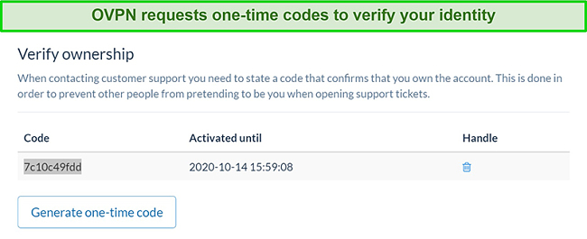 Screenshot of OVPN's one-time code to verify identity during the subscription cancellation process