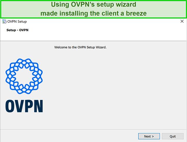 Screenshot of OVPN's set up wizard
