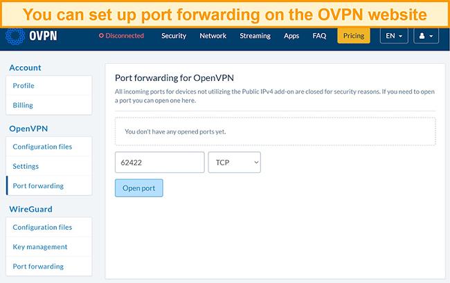 Screenshot of port forwarding option on OVPN