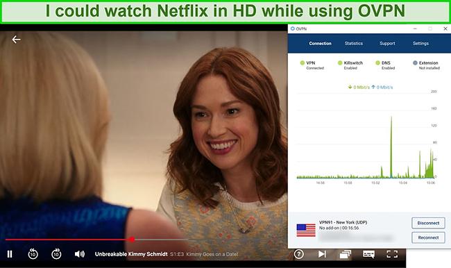 Screenshot of OVPN unblocking Netflix