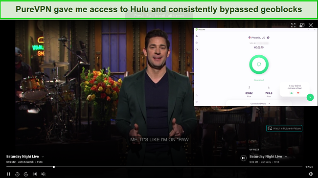 Screenshot of PureVPN unblocking Hulu
