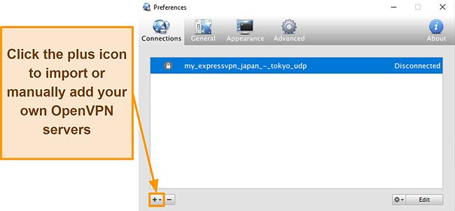 Screenshot of Viscosity app showing how to add OpenVPN servers