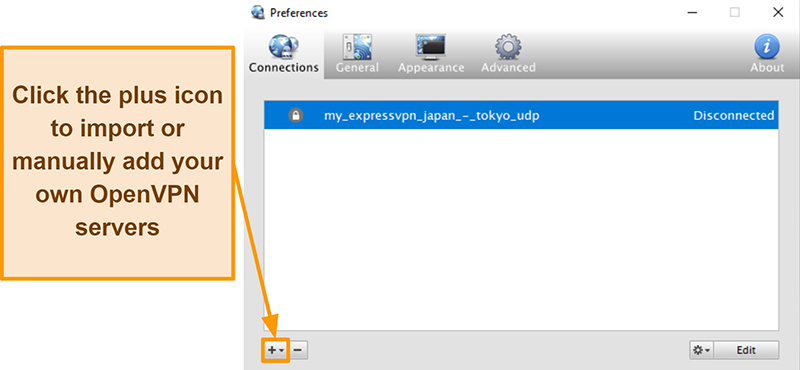 Screenshot of Viscosity app showing how to add OpenVPN servers