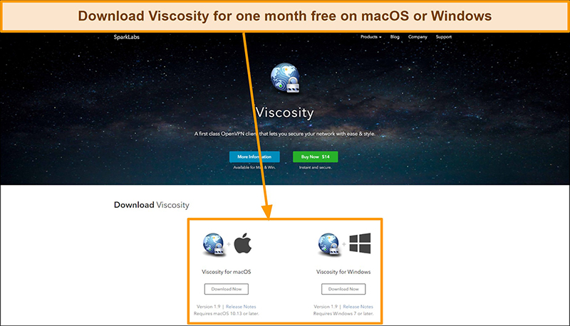Screenshot of Viscosity download page from the Viscosity website