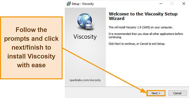 Screenshot of Viscosity setup wizard to install the app