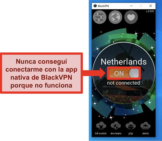 Captura de pantalla del cliente de Windows de BlackVPN que no se conecta a pesar de estar encendido