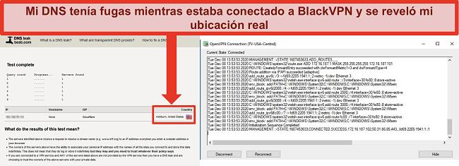 Captura de pantalla de una prueba de fuga de DNS fallida mientras BlackVPN está conectado a un servidor en los EE. UU.