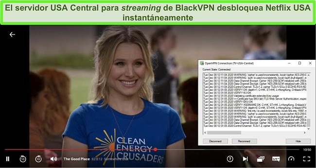 Captura de pantalla de The Good Place en Netflix mientras BlackVPN está conectado al servidor de transmisión central de EE. UU. A través del cliente OpenVPN