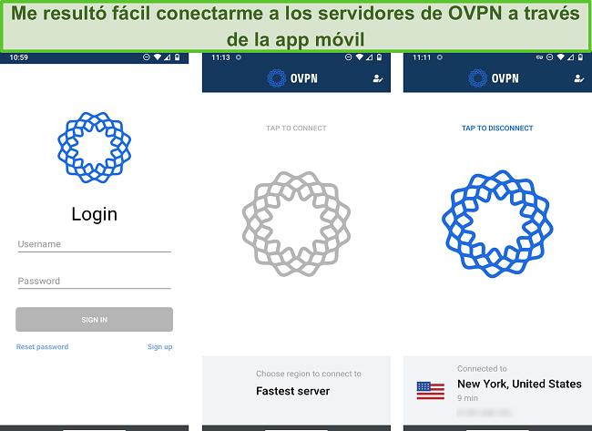 Captura de pantalla del proceso de inicio de sesión de OVPN en el móvil