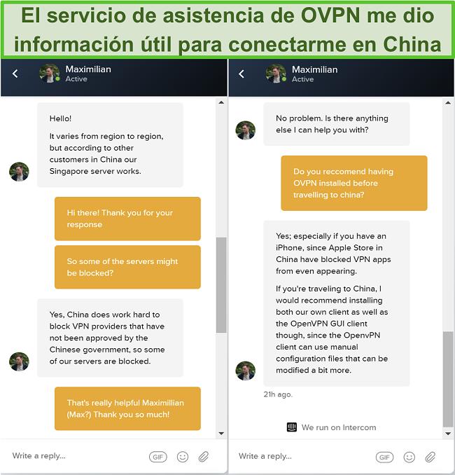 Captura de pantalla del chat en vivo con OVPN sobre si los servidores funcionan en China