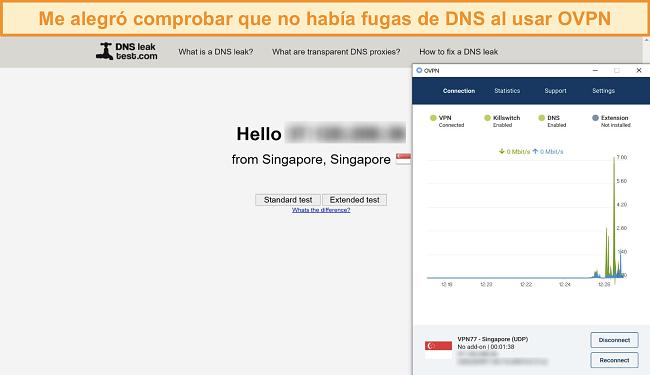 Captura de pantalla de OVPN pasando una prueba de fugas de DNS