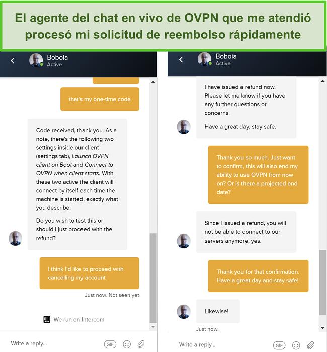 Captura de pantalla de una solicitud de reembolso exitosa a través del chat en vivo de OVPN