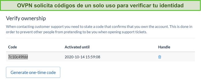 Captura de pantalla del código único de OVPN para verificar la identidad durante el proceso de cancelación de la suscripción