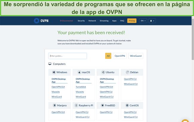 Captura de pantalla de las opciones de la aplicación de OVPN