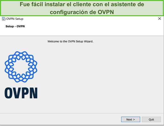 Captura de pantalla del asistente de configuración de OVPN