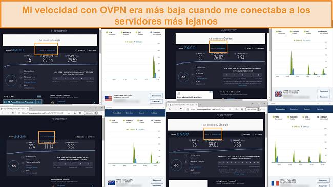 Captura de pantalla de 4 pruebas de velocidad mientras está conectado a OVPN