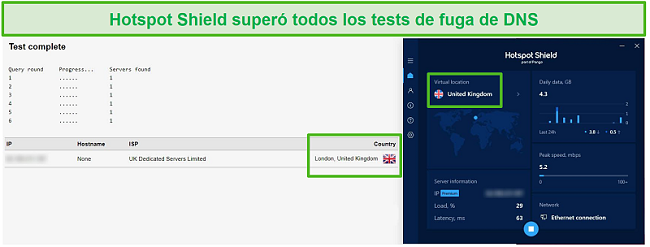 Captura de pantalla de Hotspot Shield pasando una prueba de DNS mientras está conectado a un servidor del Reino Unido.