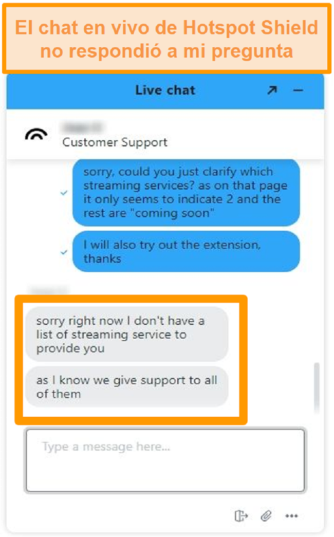 Captura de pantalla de un agente de chat en vivo de Hotspot Shield que no puede responder mi pregunta