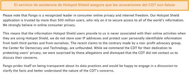 Captura de pantalla de la respuesta por correo electrónico de Hotspot Shield cuando se le preguntó sobre el incidente de 2017 que involucró al CDT que presentó una queja ante la FTC sobre las prácticas de recopilación de datos de Hotspot Shield.