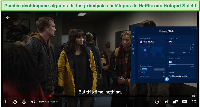 Captura de pantalla de Hotspot Shield que desbloquea Netflix y transmite Dark.