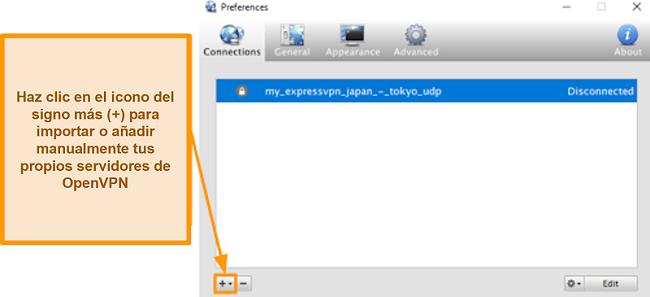 Captura de pantalla de la aplicación Viscosity que muestra cómo agregar servidores OpenVPN