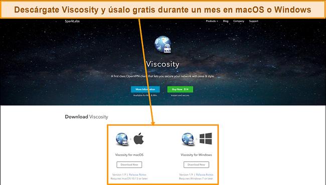 Captura de pantalla de la página de descarga de Viscosity del sitio web de Viscosity
