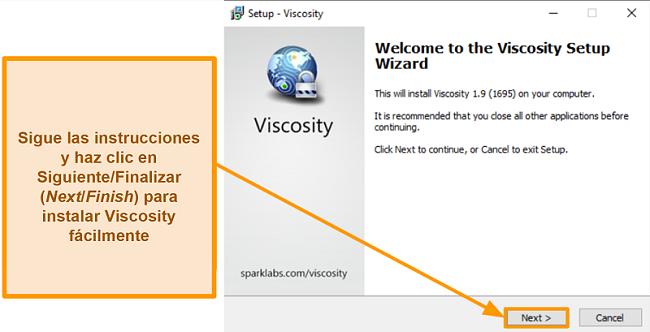Captura de pantalla del asistente de configuración de Viscosity para instalar la aplicación