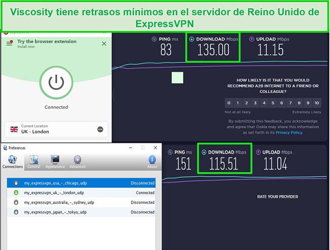 Captura de pantalla de los resultados de la prueba de velocidad mientras está conectado a los servidores de Express VPN en el Reino Unido a través de Viscosity y ExpressVPN